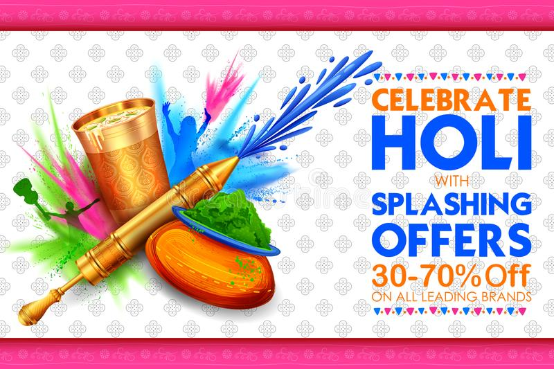 Happy Holi Background for Festival of Colors celebration greetings. Illustration of colorful Happy Holi Background for Festival of Colors celebration greetings royalty free illustration