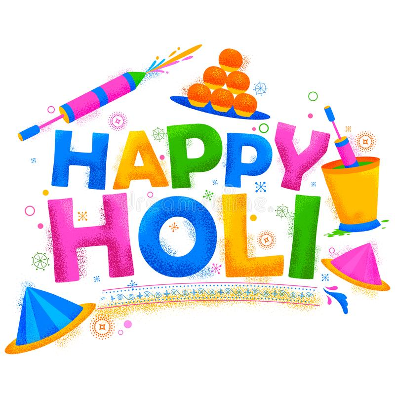 Happy Holi Background for Festival of Colors celebration greetings. Illustration of colorful Happy Holi Background for Festival of Colors celebration greetings stock illustration
