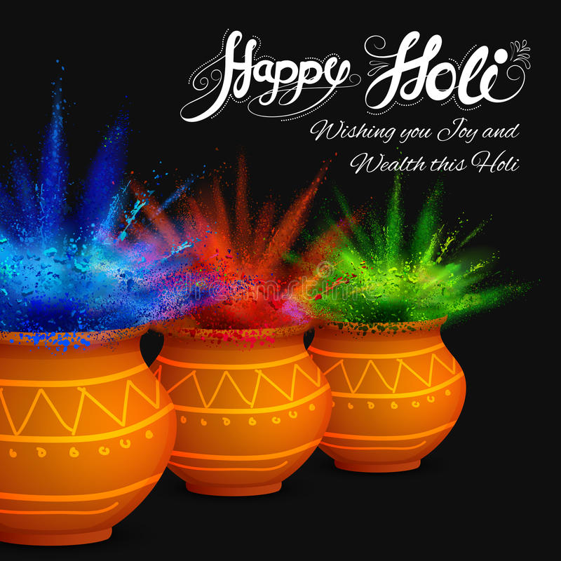 Happy Holi Background. Illustration of colorful gulaal (powder color) for Happy Holi vector illustration