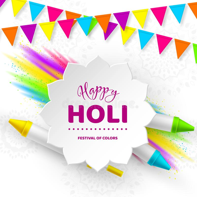 Happy Holi colorful design for Festival of Colors stock illustration