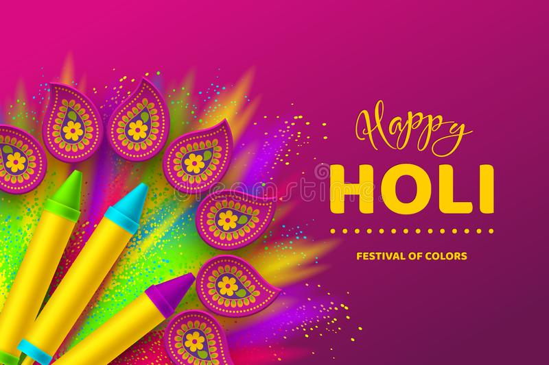Happy Holi colorful design for Festival of Colors. Happy Holi colorful background for celebration hindu Festival of Colors. 3d realistic holi pichkari with color stock illustration