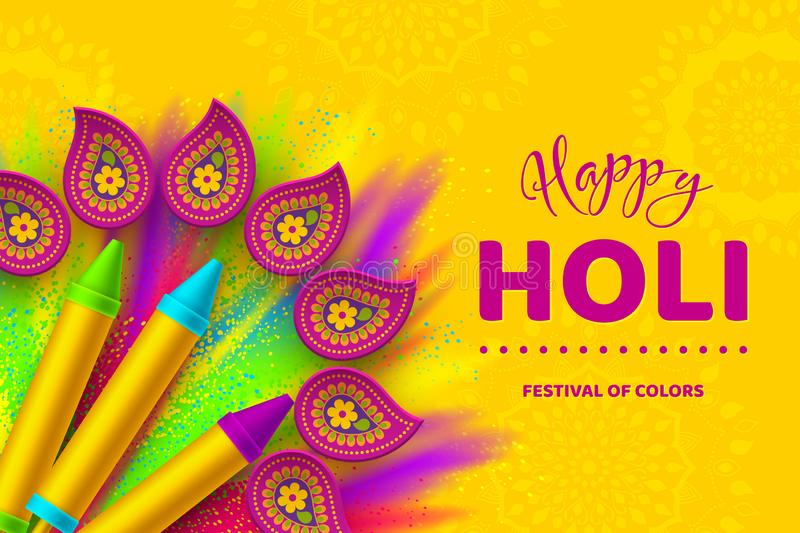 Happy Holi colorful banner for Festival of Colors. Happy Holi colorful banner for celebration hindu Festival of Colors. 3d realistic holi pichkari with color vector illustration