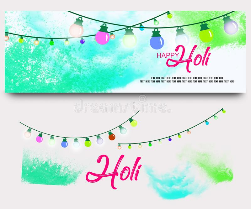 Happy holi festival banners set with watercolors stock illustration