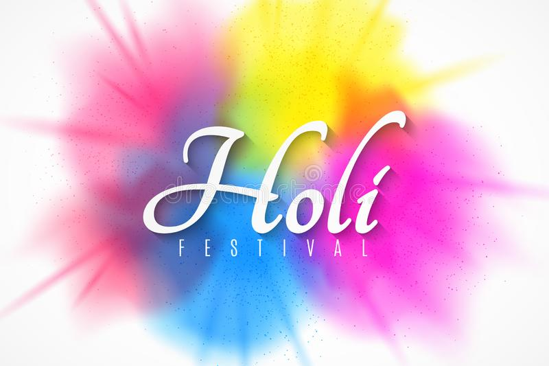Happy Holi festive banner. Indian Festival of Colors. Spray multicolored paint. Greeting card. Multicolored fog. Paint blast. stock illustration