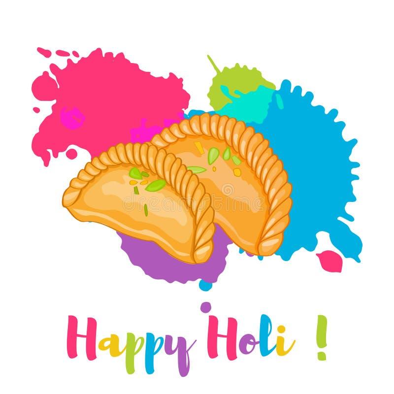 Happy Holi Gujiya traditional holi sweet colorful card, poster. Vector illustration. vector illustration