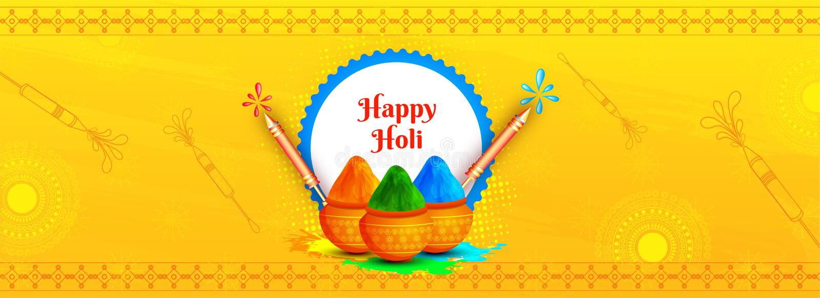 Happy Holi header or banner design with illustration of color pots and water guns on yellow background. vector illustration