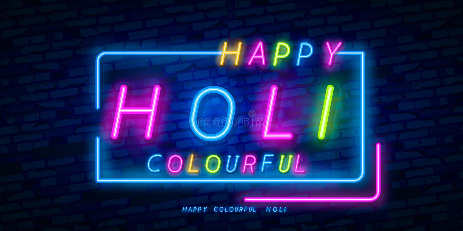 Happy Holi neon sign. Web banner theme Holi, logo, emblem and label. Neon sign, bright signboard, light banner. Vector stock illustration