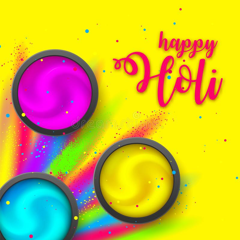 Happy HOLI poster. Powder on yellow backdrop. Festival lettering with Gulaal Explosion ink. Hindu, Dhulandi. Happy HOLI banner flat lay. Powder cream on yellow vector illustration