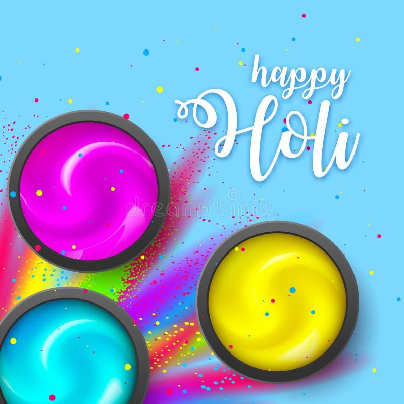 Happy HOLI. Powder on blue backdrop. Gulaal Explosion ink. Hindu, Dhulandi, Rangpanchami card. Launched dust, liquid. Happy HOLI banner flat lay. Powder cream on stock illustration