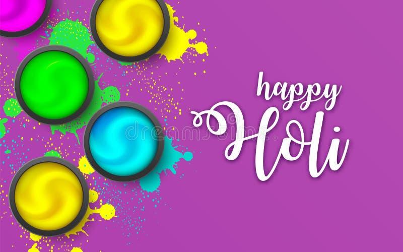 Happy HOLI. Powder on violet backdrop. Gulaal Explosion ink. Hindu, Dhulandi, Rangpanchami card. Launched dust, liquid. Happy HOLI banner flat lay. Powder cream vector illustration