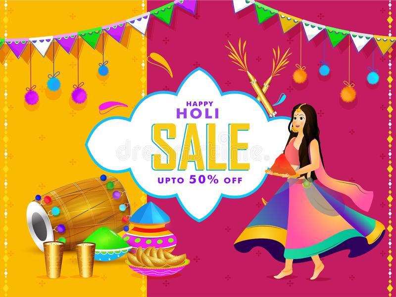 Happy holi sale poste or banner design with beautiful girl character. vector illustration