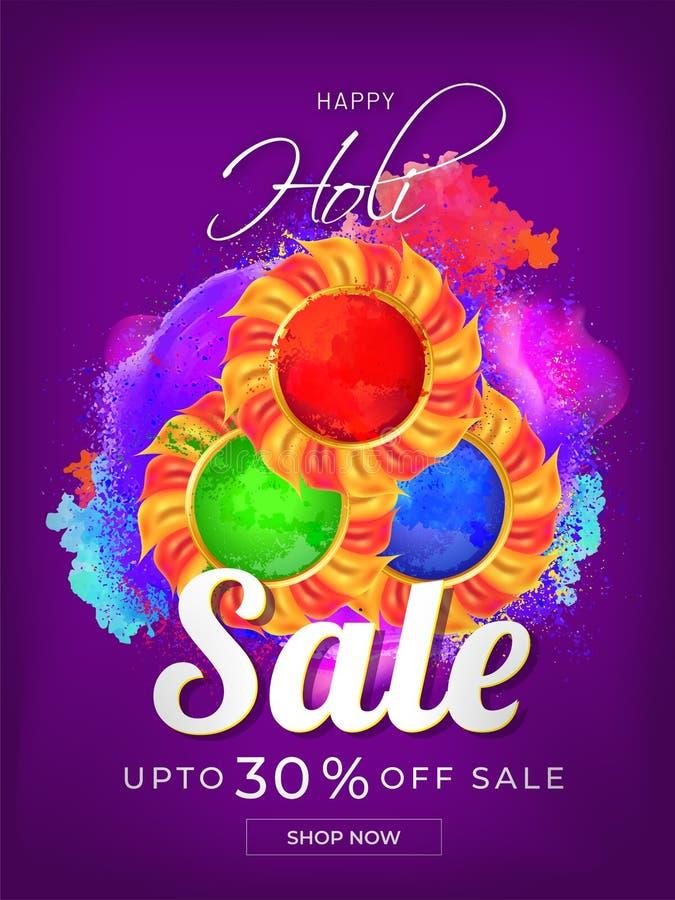 Happy Holi sale template or flyer design with illustration of color bowls. stock illustration