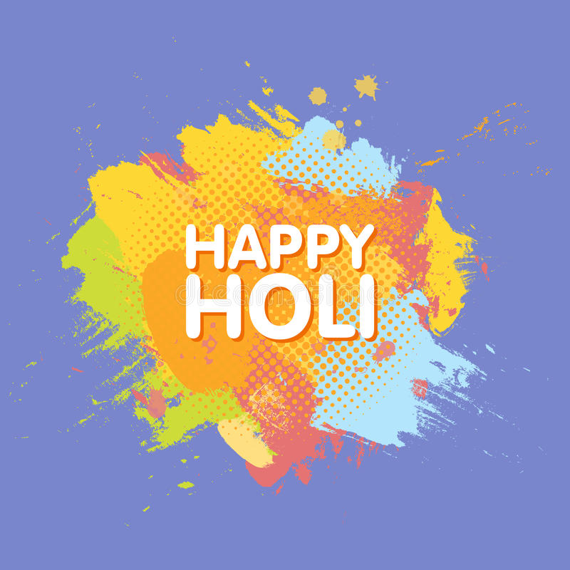 Happy Holi spring festival of colors greeting background with colorful Holi powder paint clouds and sample text. Blue, yellow, pin stock illustration