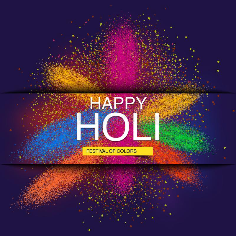 Happy Holi spring festival of colors greeting vector background with realistic volumetric colorful Holi powder paint clouds and sa stock illustration
