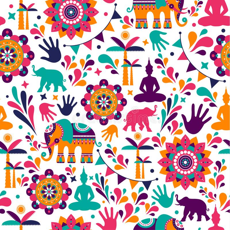 Happy holi vector elements seamless pattern design , Happy holi design with colorful icon. royalty free stock image