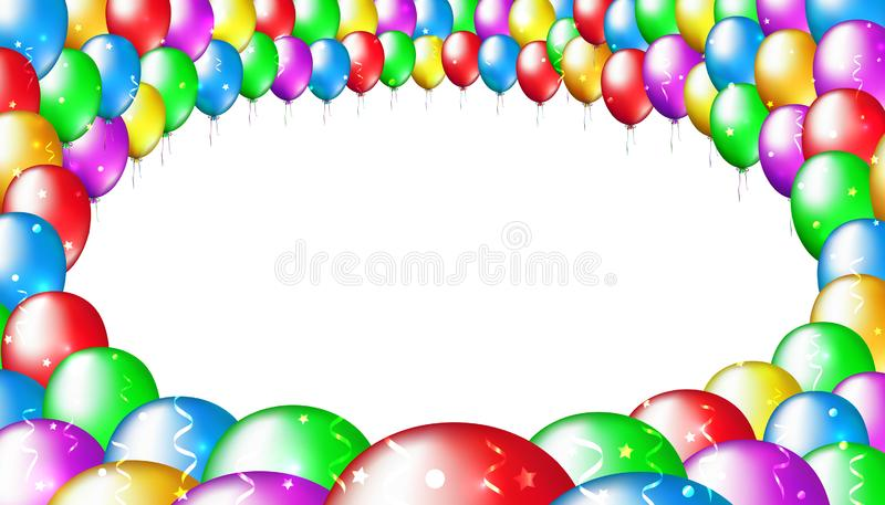 Happy holiday background colorful balloons. Balloon decoration for celebration party. Multicolor balloons frame white background stock illustration