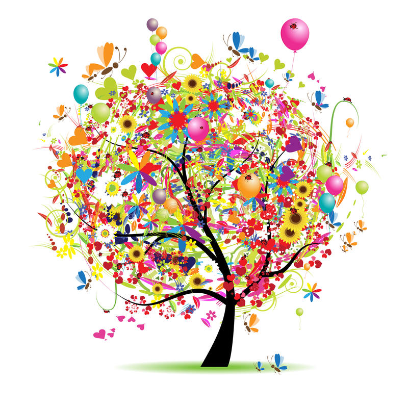 Happy holiday, funny tree with baloons. Vector illustration royalty free illustration