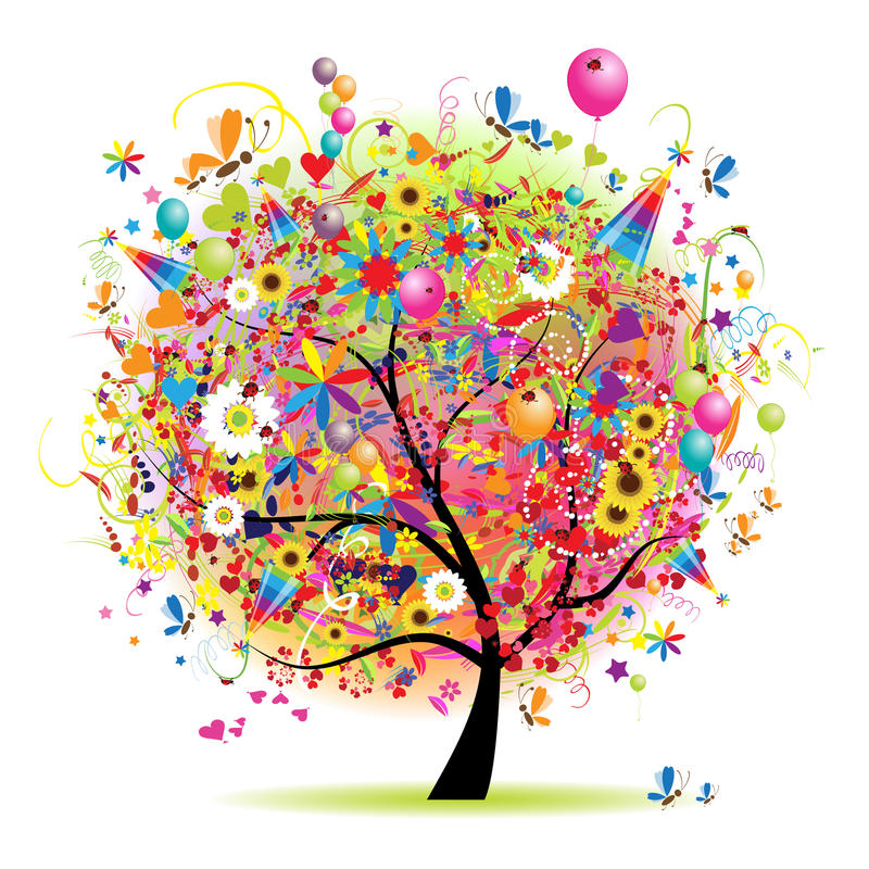 Happy holiday, funny tree with baloons. Vector illustration stock illustration