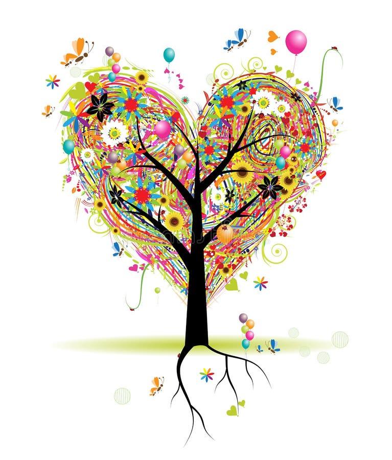 Happy Holiday, Heart Shape Tree With Balloons Stock Photography