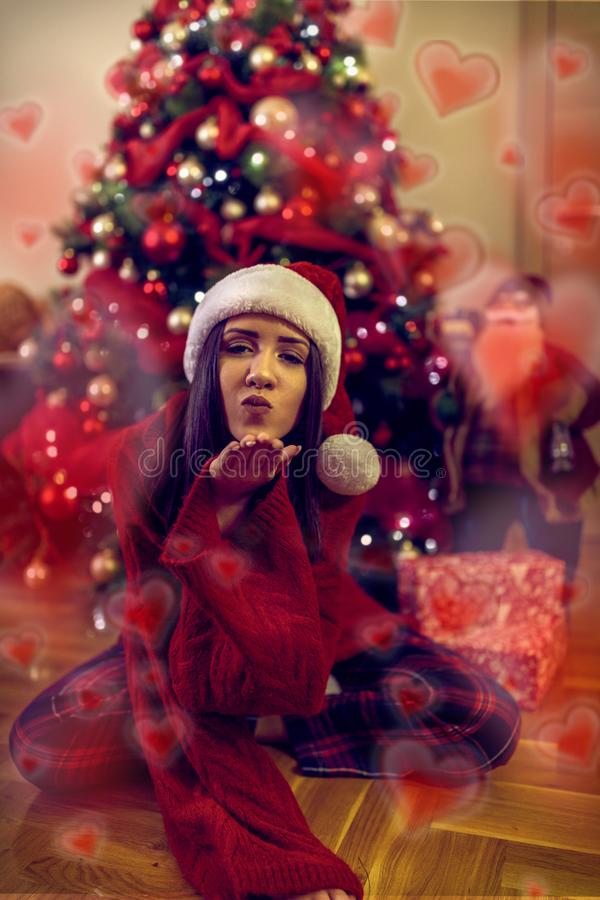 Happy holiday.Kiss for you.Girl blowing kiss royalty free stock images