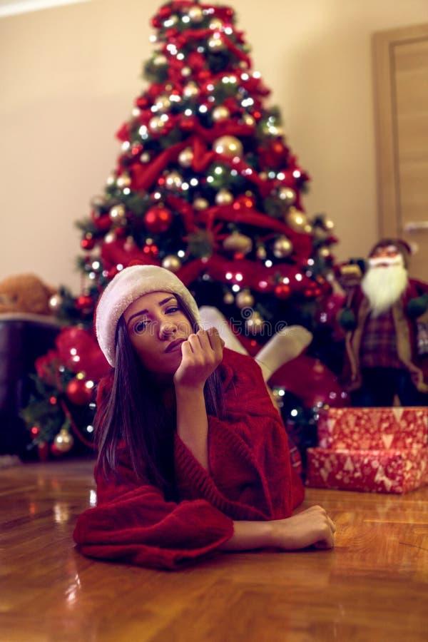 Happy holiday. girl enjoying at Christmas time royalty free stock images