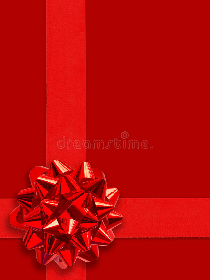 Happy Holidays! :-). Red Gift Ribbon Over Solid Background (with clipping path for easy background removing