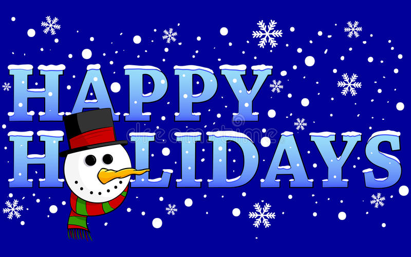 Happy Holidays. Illustration of a snow filled design with the text Happy Holidays and a snowman