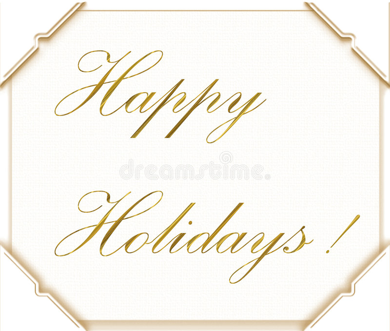 Happy Holidays. Written in gold script on white with four photo corners royalty free illustration