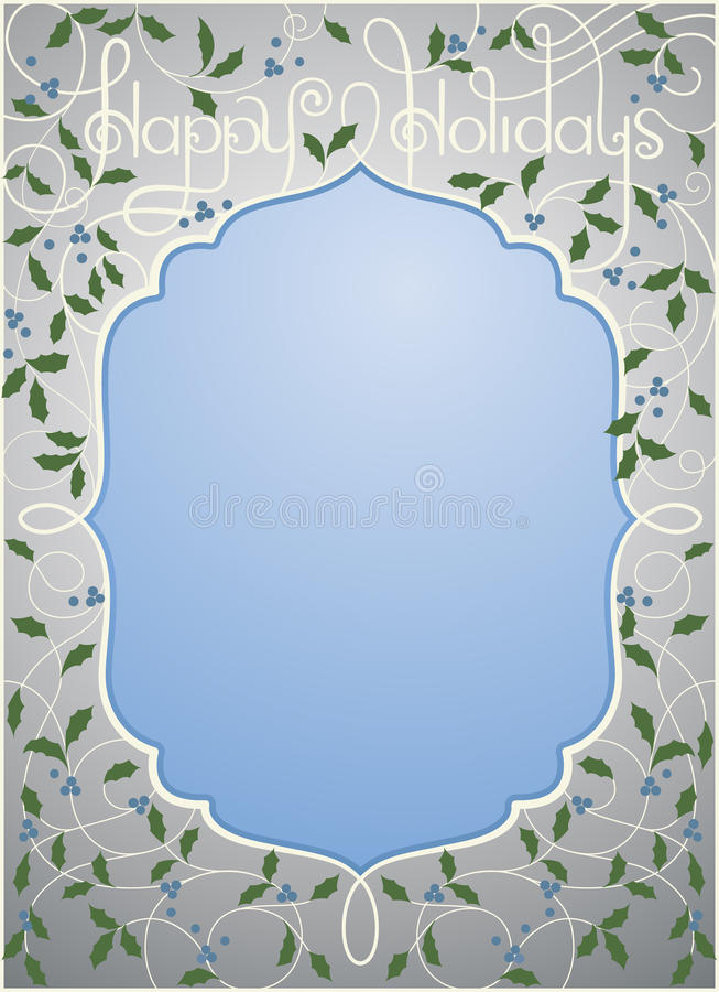 Happy Holidays Background In Silver And Blue Color Stock Photography