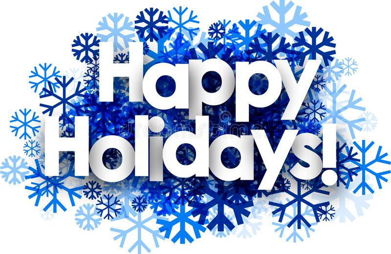 Happy holidays background with snowflakes. stock illustration