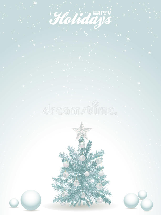 Happy holidays blue background with Christmas tree royalty free illustration