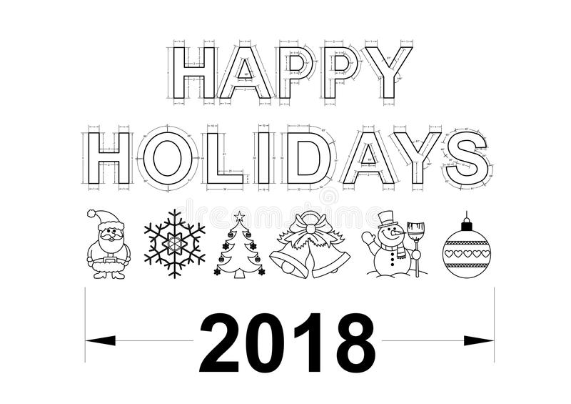 Happy holidays blueprint 2018 - isolated stock illustration
