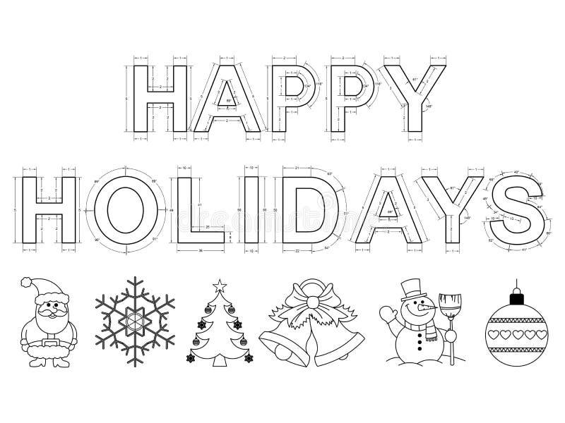 Happy holidays 2016 blueprint - isolated stock illustration