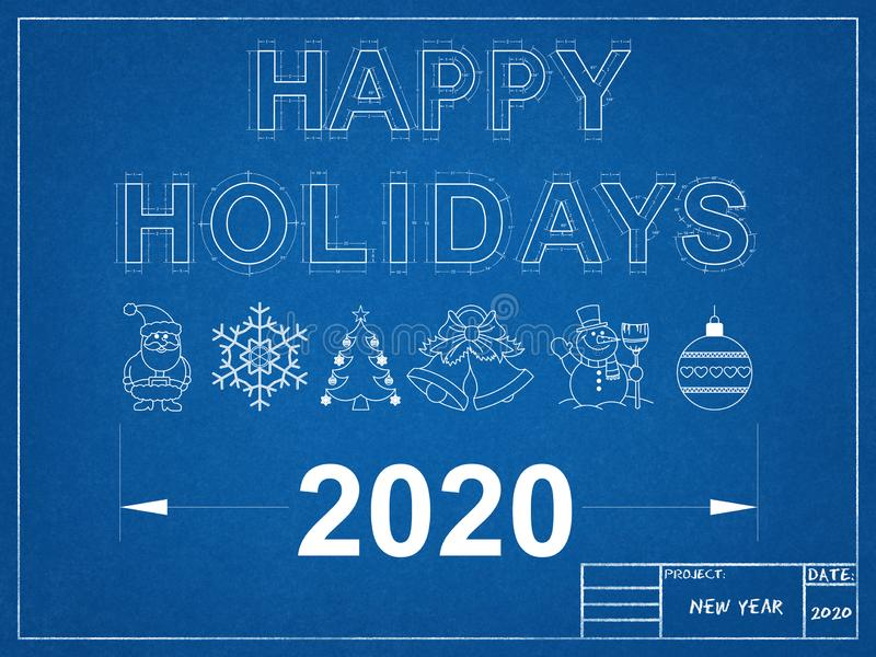 Happy Holidays 2020 Blueprint vector illustration