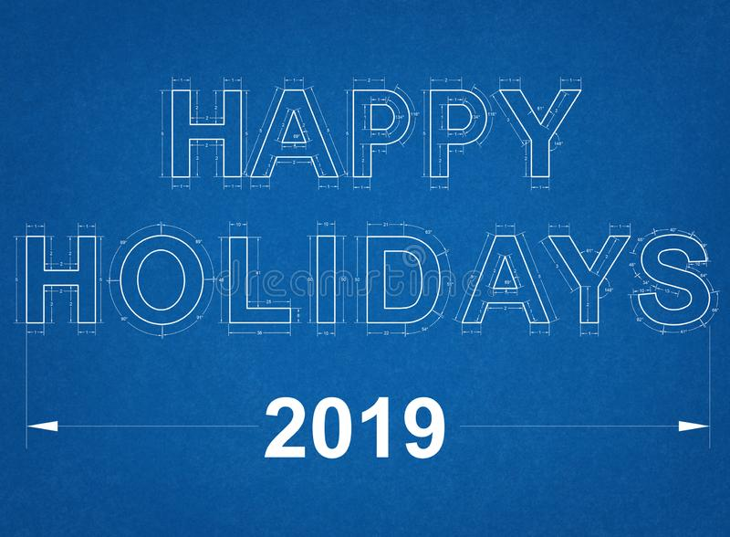 Happy Holidays 2019 Blueprint royalty free stock image
