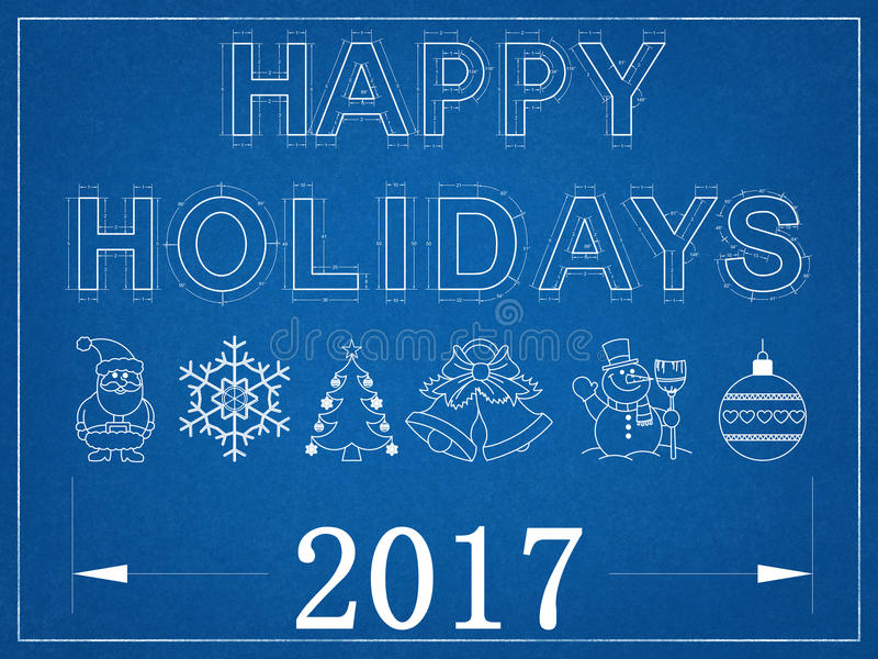 Happy Holidays 2017 - Blueprint royalty free illustration