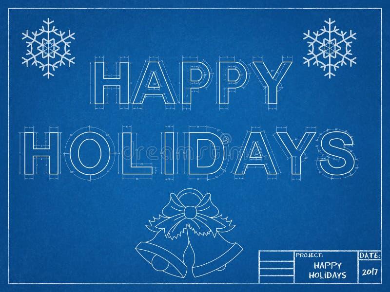 Happy Holidays 2017 - Blueprint stock illustration