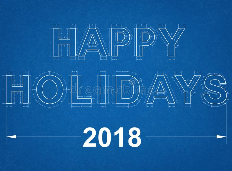 Happy Holidays 2018 Blueprint stock image