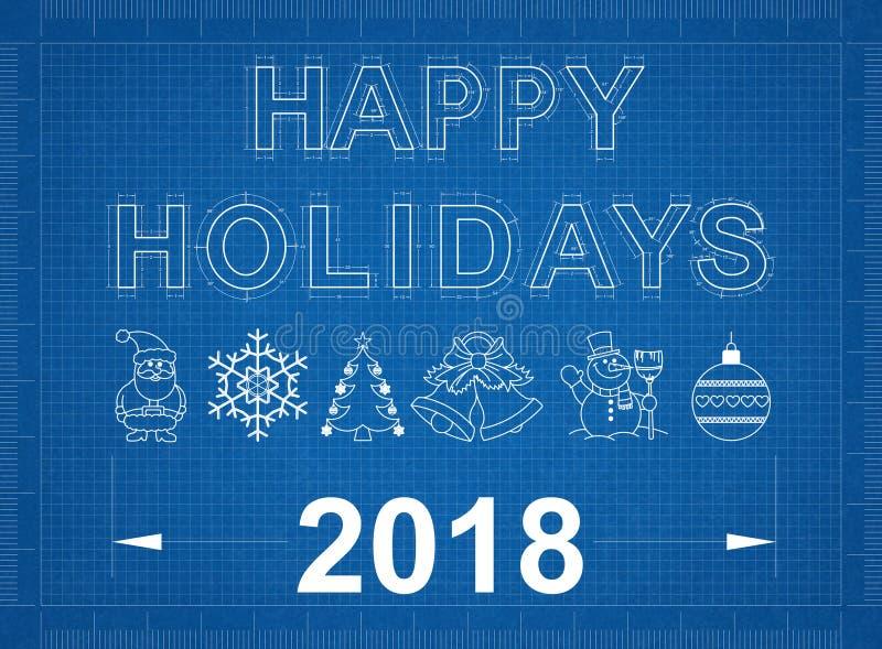 Happy Holidays 2018 Blueprint stock photos