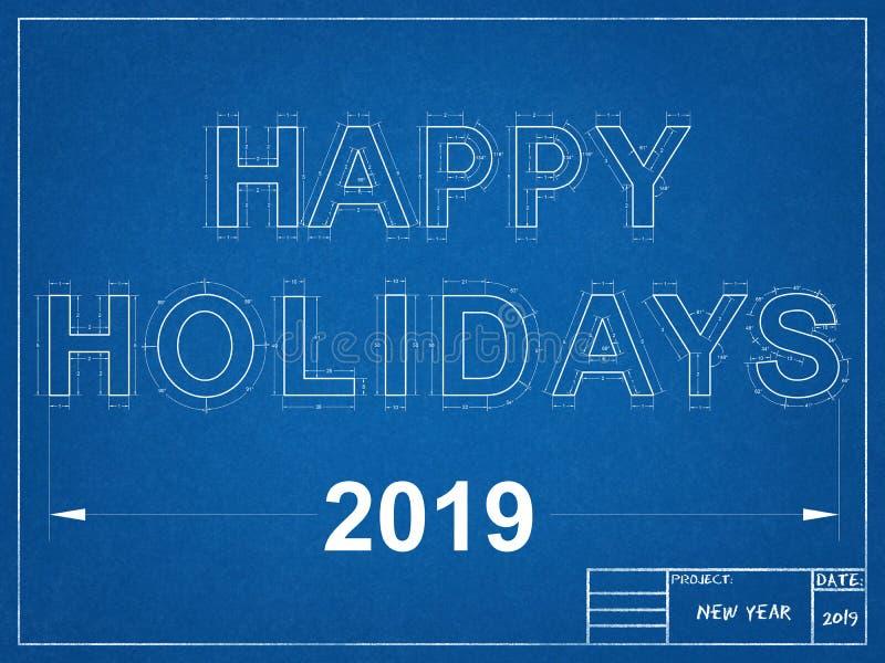 Happy Holidays 2019 Blueprint royalty free illustration
