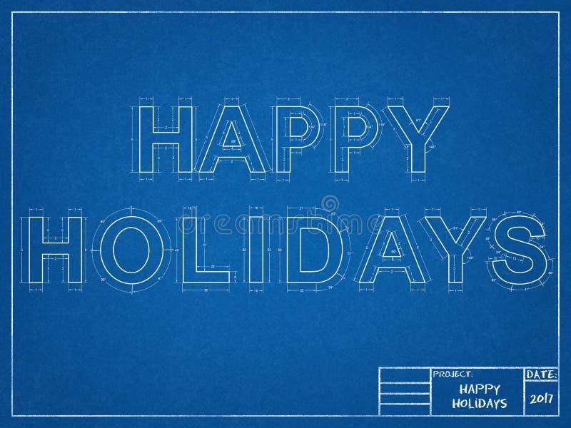 Happy Holidays - Blueprint vector illustration