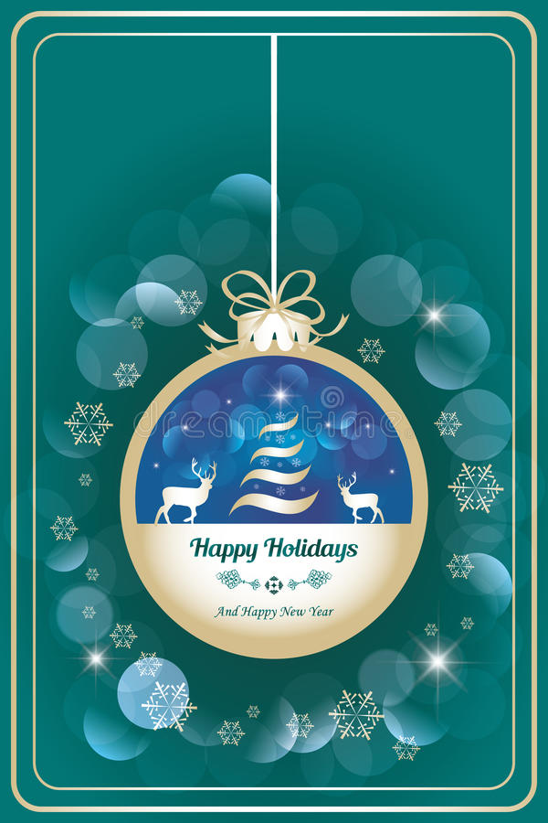 Happy holidays card with dear. Vector illustration in retro design vector illustration