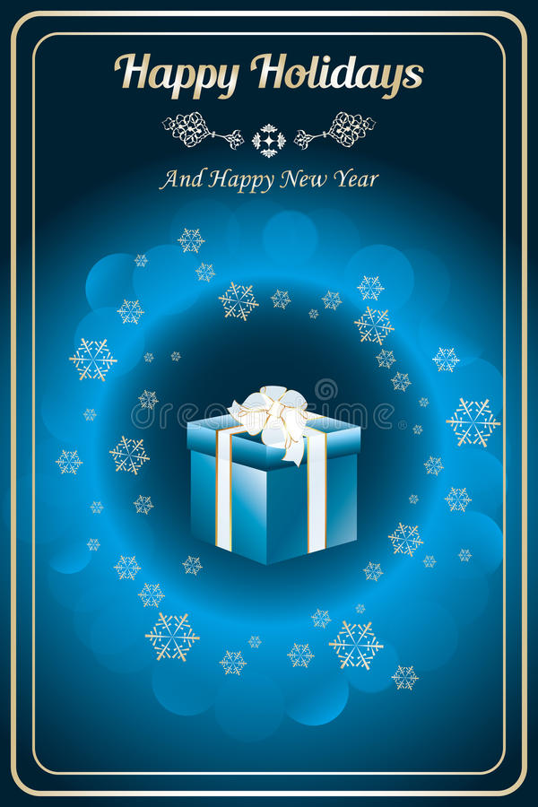 Happy holidays. Card with giftbox, golden snowflakes and bubbles on shiny deep blue background - available as vector and jpg-file royalty free illustration