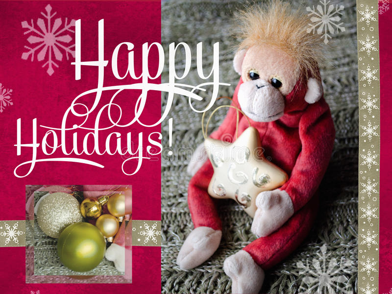 Happy holidays cards design. 2016 Year of the Monkey. Greeting card. stock photography