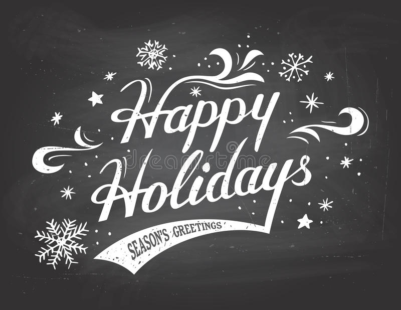 Happy Holidays on chalkboard background vector illustration