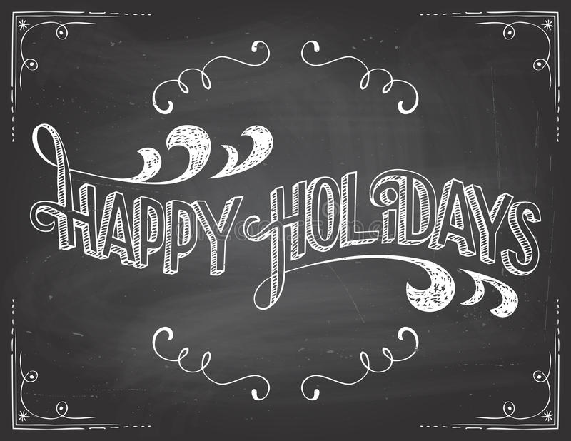 Happy Holidays chalkboard stock images