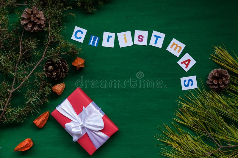 Happy holidays Christmas new year tree gifts stock images