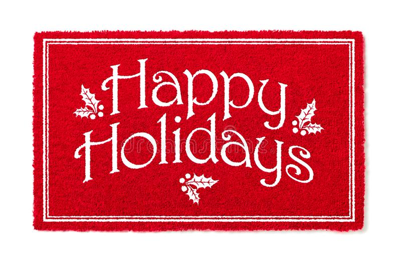 Happy Holidays Christmas Red Welcome Mat Isolated on White Background.  royalty free stock photo