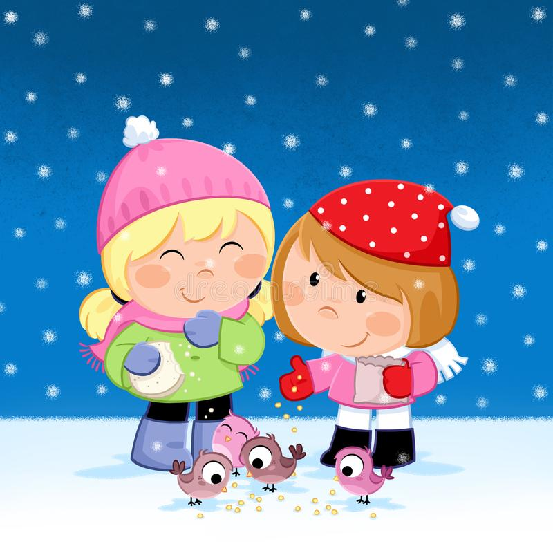 Happy Holidays - Christmas time - Kids feeding birds royalty free illustration