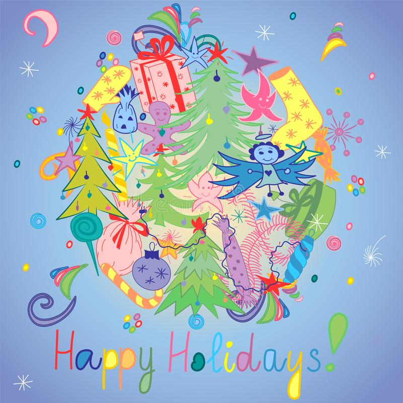 Happy Holidays! Colorful Hand Drawn Funny Doodle Holiday Set with Candies, Gifts, Candle, Fir Trees, Angel, Stars and Snowflakes. Children Cute Drawings on stock illustration